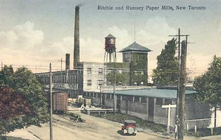 "Postcard showing low buildings with chimney stacks and water tower and the words ""Richie and Ramsey Paper Mills, New Toronto"""