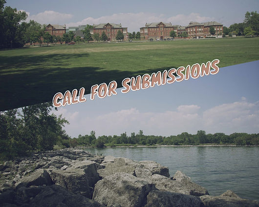 """Four red brick buildings at the end of a green lawn above a rocky shoreline. Words """"Call for Submissions"""" run across the two images."""