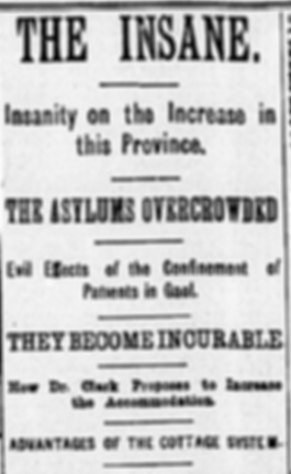"""Newspaper headlie from The Globe's 1885 edition reading: """"The insane. Insanity on the increase in this province. The asylums overcrowded. Evil effects of the confinement of patients in gaol. The become incurable. How Dr. Clark propoes to increase the accommodation. Advantages of the cottage system."""