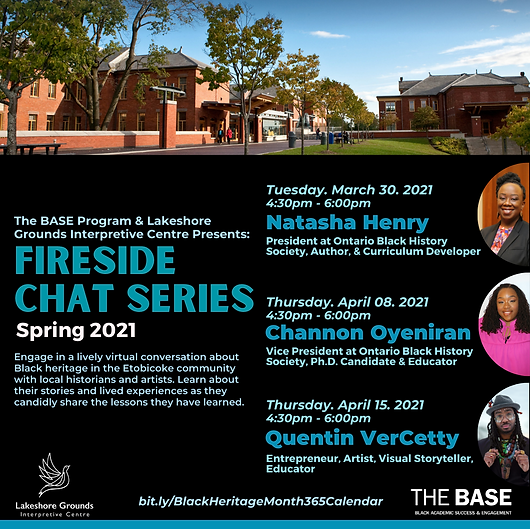 Poster for the Fireside Chat series featuring a banner of red brick buildings along the top and the photos of three guest speakers along the right: two Black women and one Black man.