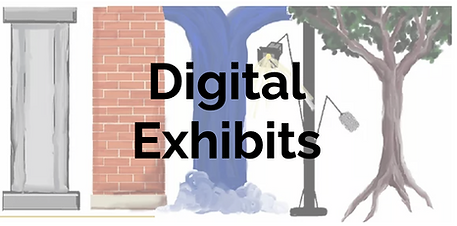 """Drawn image of cement pillar, brick pillar, waterfall, light on post, and tree with words """"Digital Exhibits"""" on top"""