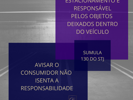 Responsabilidade do Estacionamento ou do Fornecedor que oferece estacionamento para os clientes