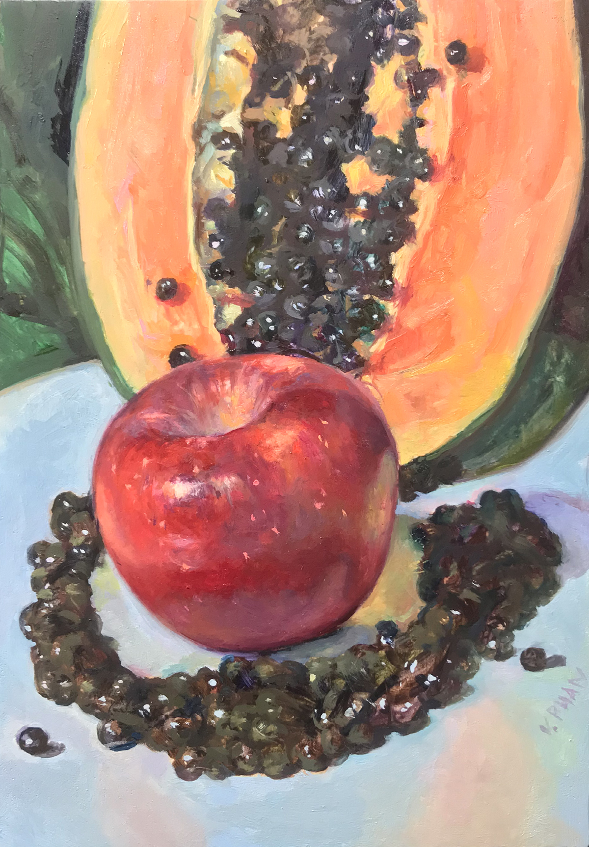 "apple and papaya seed, 7x5"" $800"