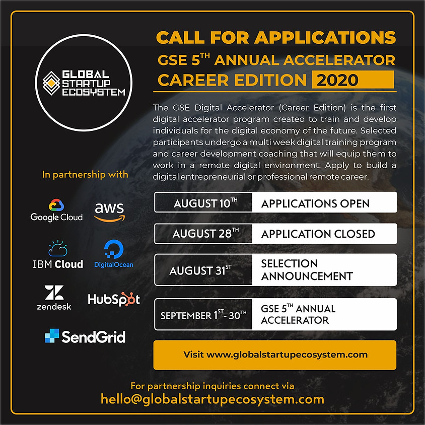 Call for Applications: Free 4 Week Global Startup Ecosystem (GSE) 5th Annual Digital Career Accelerator.