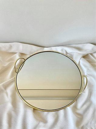 Dienblad goud/glas