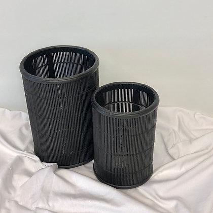 Windlicht Bamboo Zwart