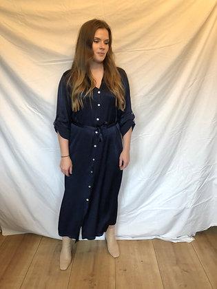 Emma Satin Dress Navy