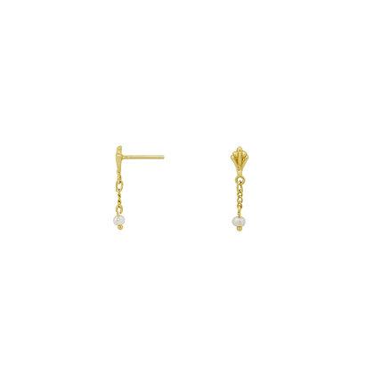 Flawed Ornamental Pearl Chain Studs