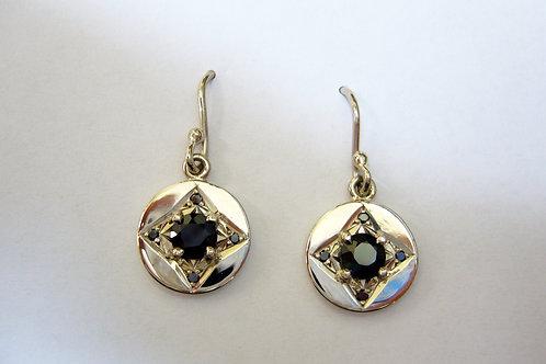 black diamond and sapphire earrings