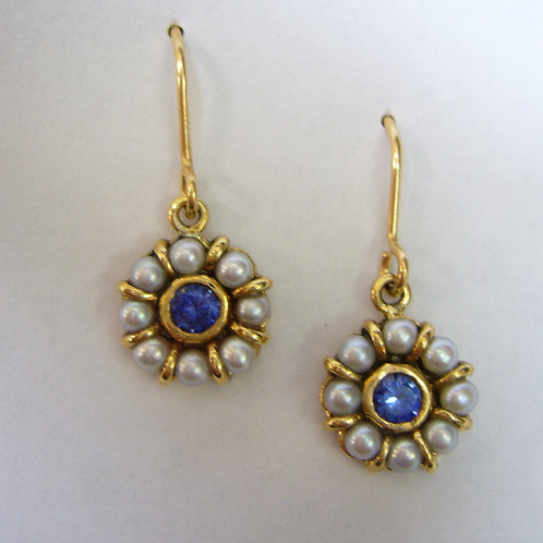 Sapphire and seed pearl earrings