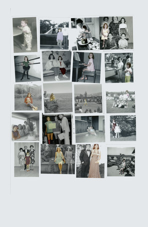 Adding color to black and white polaroids of my mother, designing her childhood wardrobe in my own eyes
