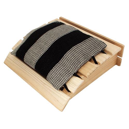 EMENDO Puinen päänalunen + musta tyyny - Saunakissen mit Holzkopfteil