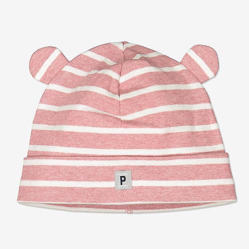 Polarn & Pyret, Randig mössa med öron baby rosa