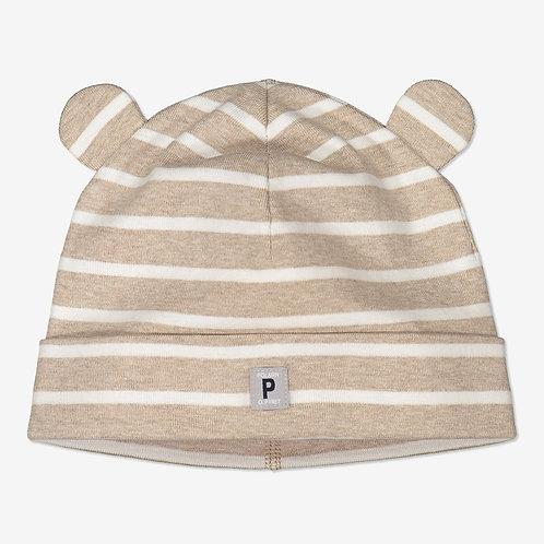 Polarn & Pyret, Randig mössa med öron baby beige
