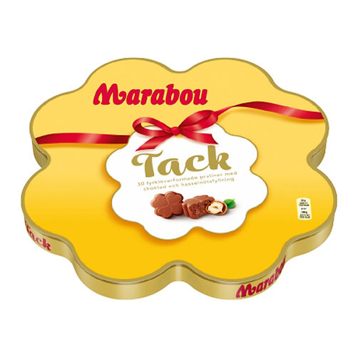 Marabou Tack, 30 Fyrklöverformade praliner, 165gr