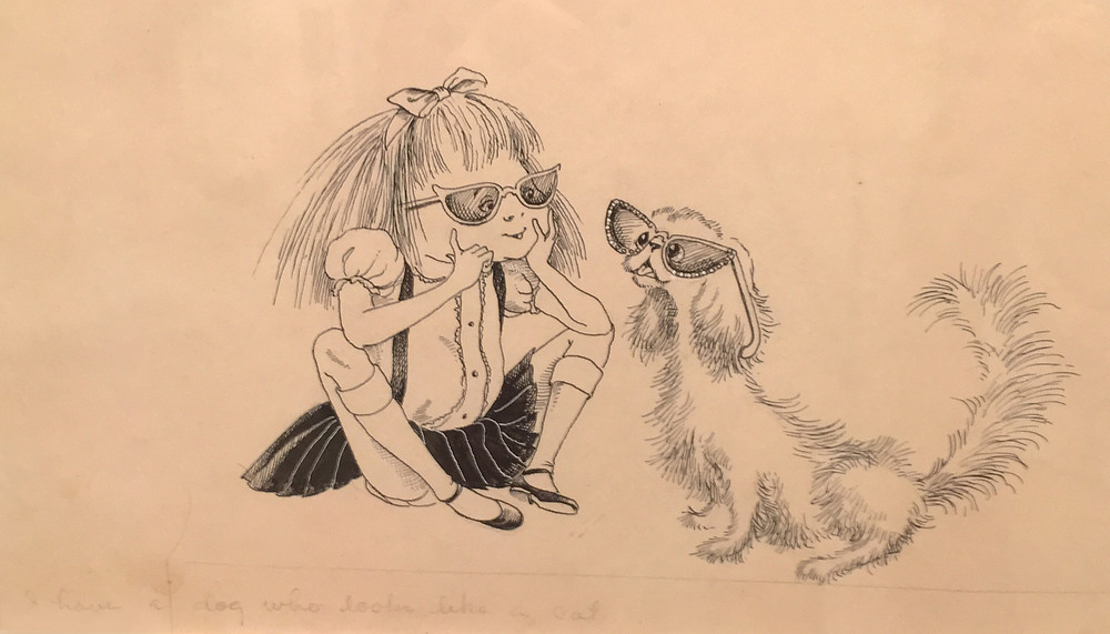 An early sketch of Eloise's dog, before he became the Weenie we know.