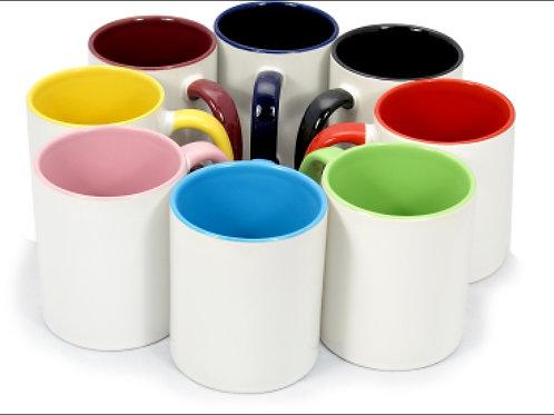 Кружки с цветным ободком и ручкой