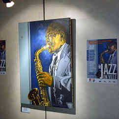 Portait de Charlie Parker réalisé par Jean-Paul Pagnon et repris sur l'affiche du féstival Jazz En Ville 2019. © Bruno Charavet