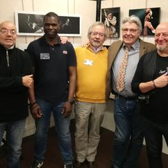 Samedi 9 mars 2019 Ouverture de l'Expo photos du festival Jazz En Ville.  De gauche à droite les Exposants   Lionel BAUNOT Yanis BAYBAUD   Bruno CHARAVET   Jean GAULTIER (Staff) Patrick MARTINEAU  