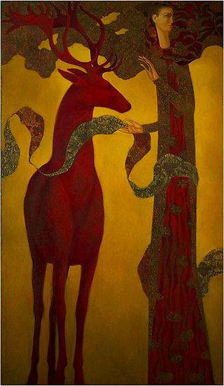 Peinture figurative homme cerf rouge Timur D'Vatz