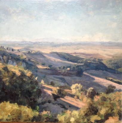 Lumière descendant les collines de Toscane