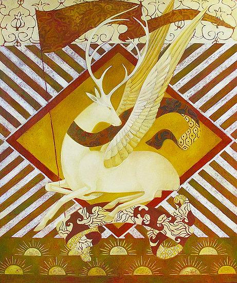 cerf ailes soleil peinture figurative timur d'vatz