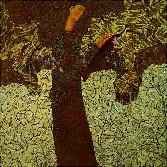 Peinture figurative homme aux faucons Timur D'Vatz