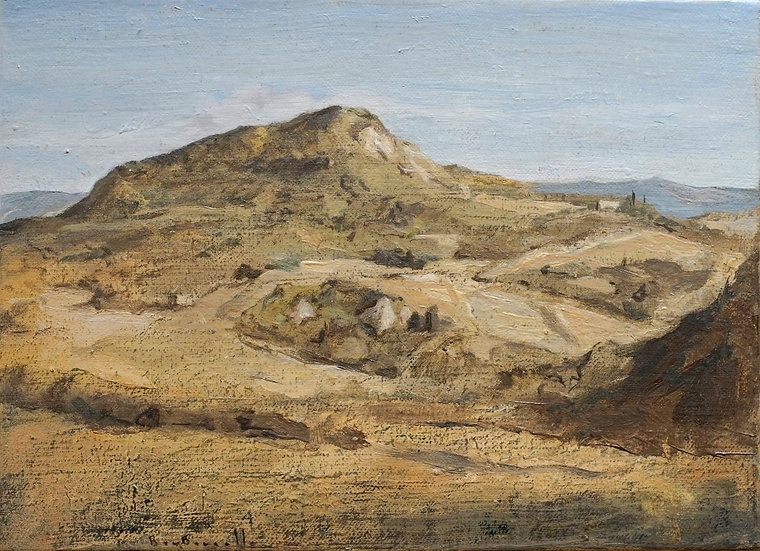 André Boubounelle / The mountain in Volterra, end of summer, small ocher version