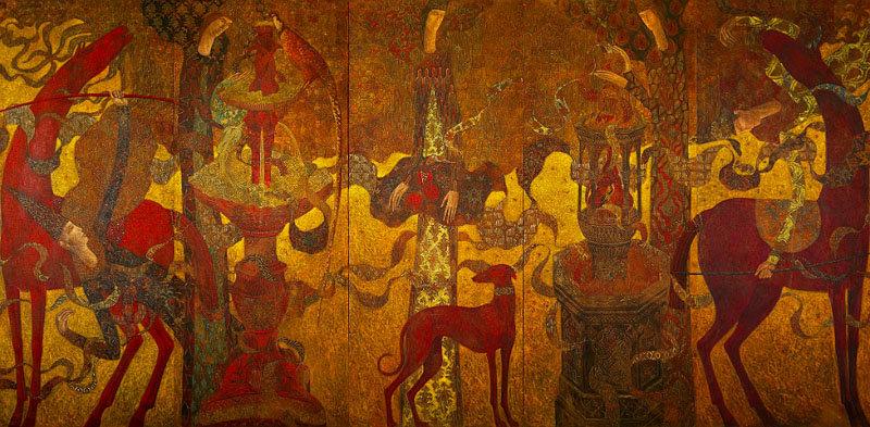 peinture figurative temple hommes animaux timur d'vatz