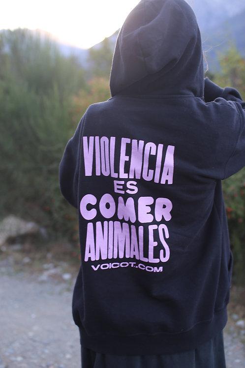 Campera c/ cierre - Violencia es comer animales