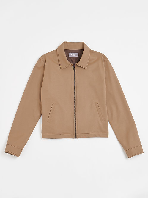 Stretch Cotton Twill Zipped Jacket
