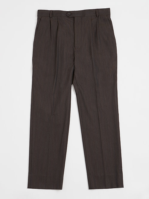 Brown Stripe Pleated Wool Mix Trousers