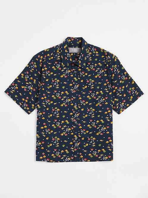 Navy Ducks Kimono Print Cotton Shirt