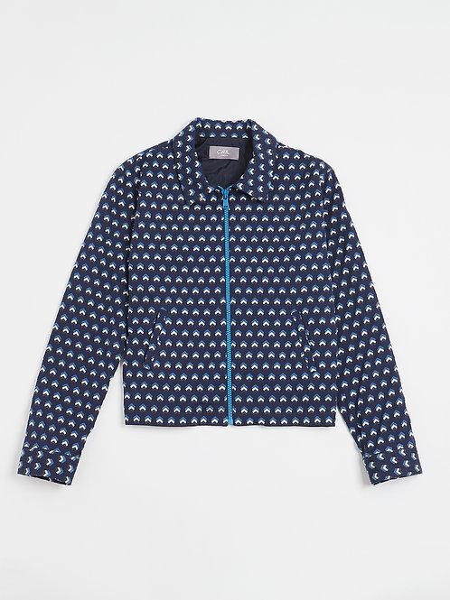 Blue Jacquard Zipped Jacket