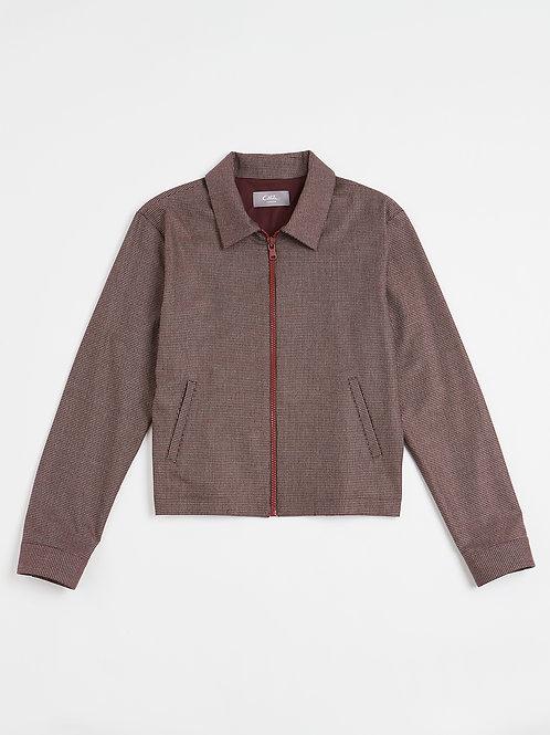 Maroon Micro Check Zipped Jacket
