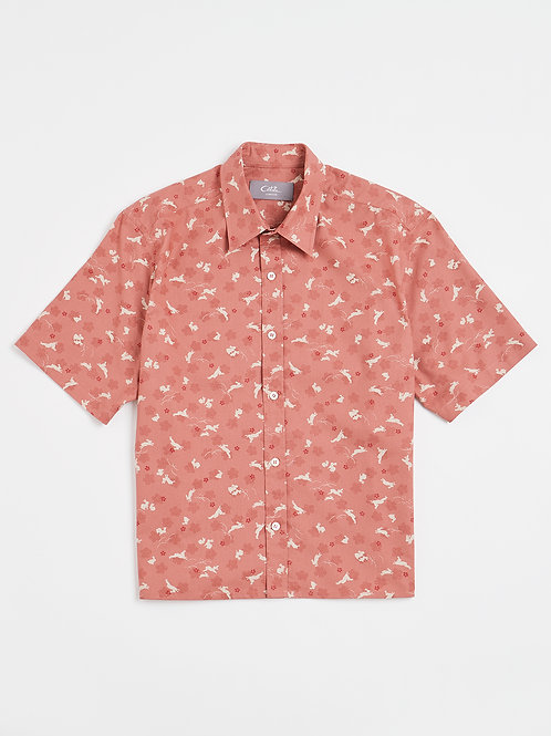 Pink Hares Kimono Print Cotton Shirt