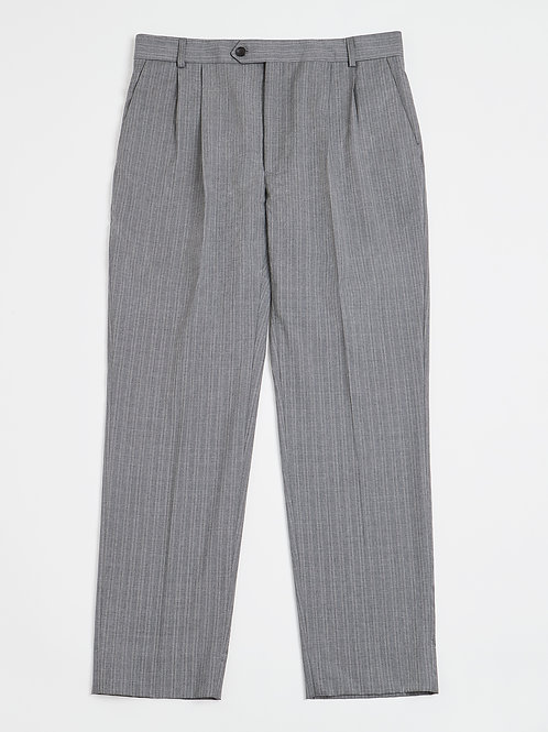 Grey Stripe Pleated Fresco di Lana Trousers