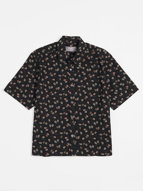 Black Owls Kimono Print Cotton Shirt