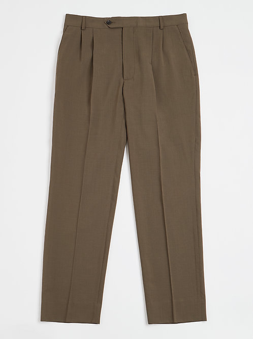 Mud Pleated Fresco di Lana Trousers