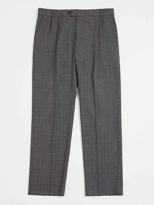 Grey Textured Check Pleated Fresco di Lana Trousers