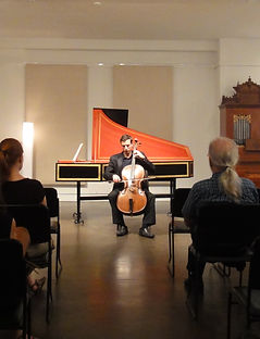 baroque cellist, baroque cello, harpsichord, baroque room, charles asch, cello, recital