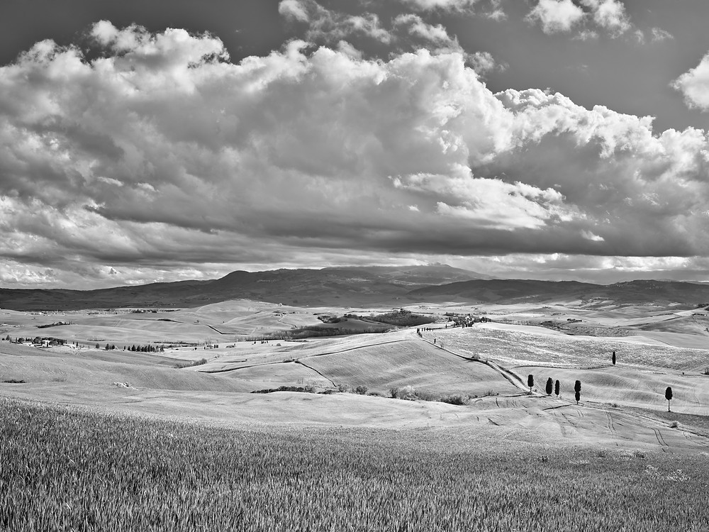 Thunder clouds building over the Val D'Orcia and Monte Amiata.