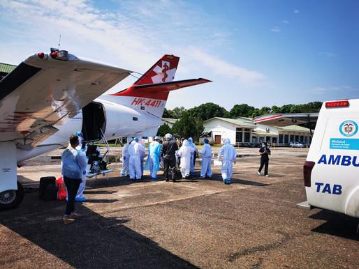 Fuerza Aérea Colombiana permite traslado aéreo de paciente en grave estado de Salud por COVID-19