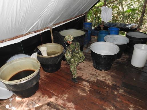 Operación contra el narcotráfico logró la ubicación y destrucción de dos laboratorios del ELN