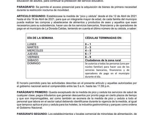 MEDIDA DEL PICO Y CÉDULA SERÁ IMPLEMENTADO EN LA DORADA NUEVAMENTE