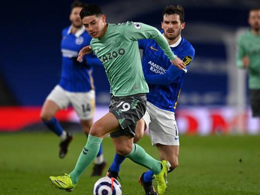 Con James Rodríguez todo el partido, Everton sigue cediendo terreno