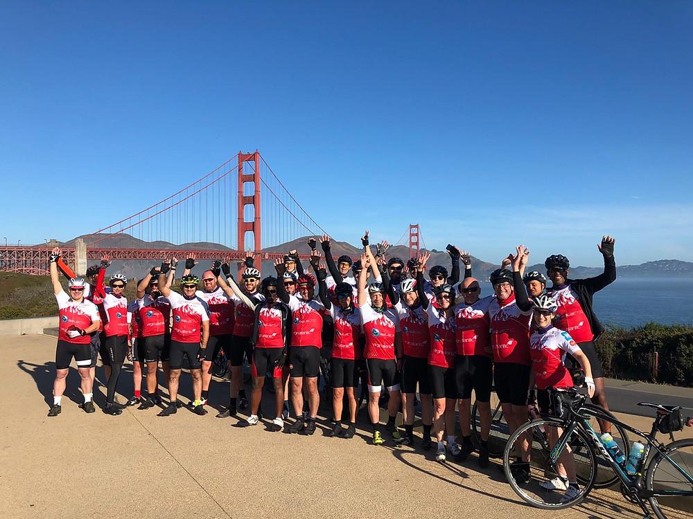 Virgin group in front of Golden Gate bridge