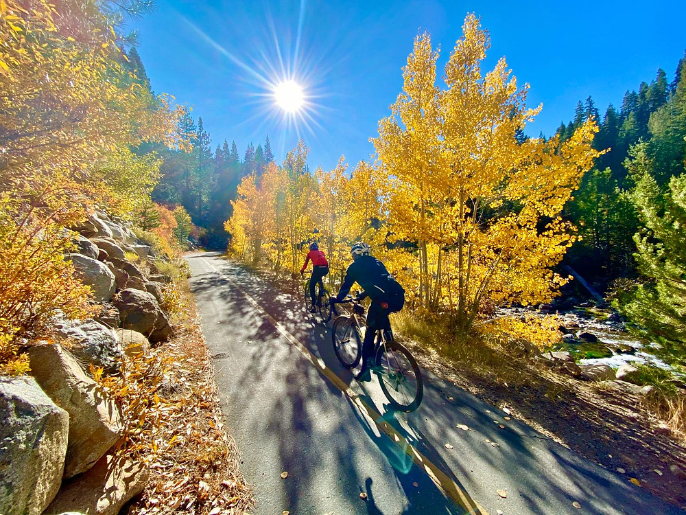 Riding alongside the Truckee River