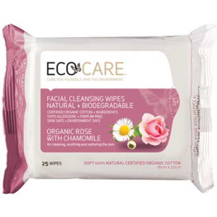 ECOCARE Organic Facial Cleansing Wipes Rose with C