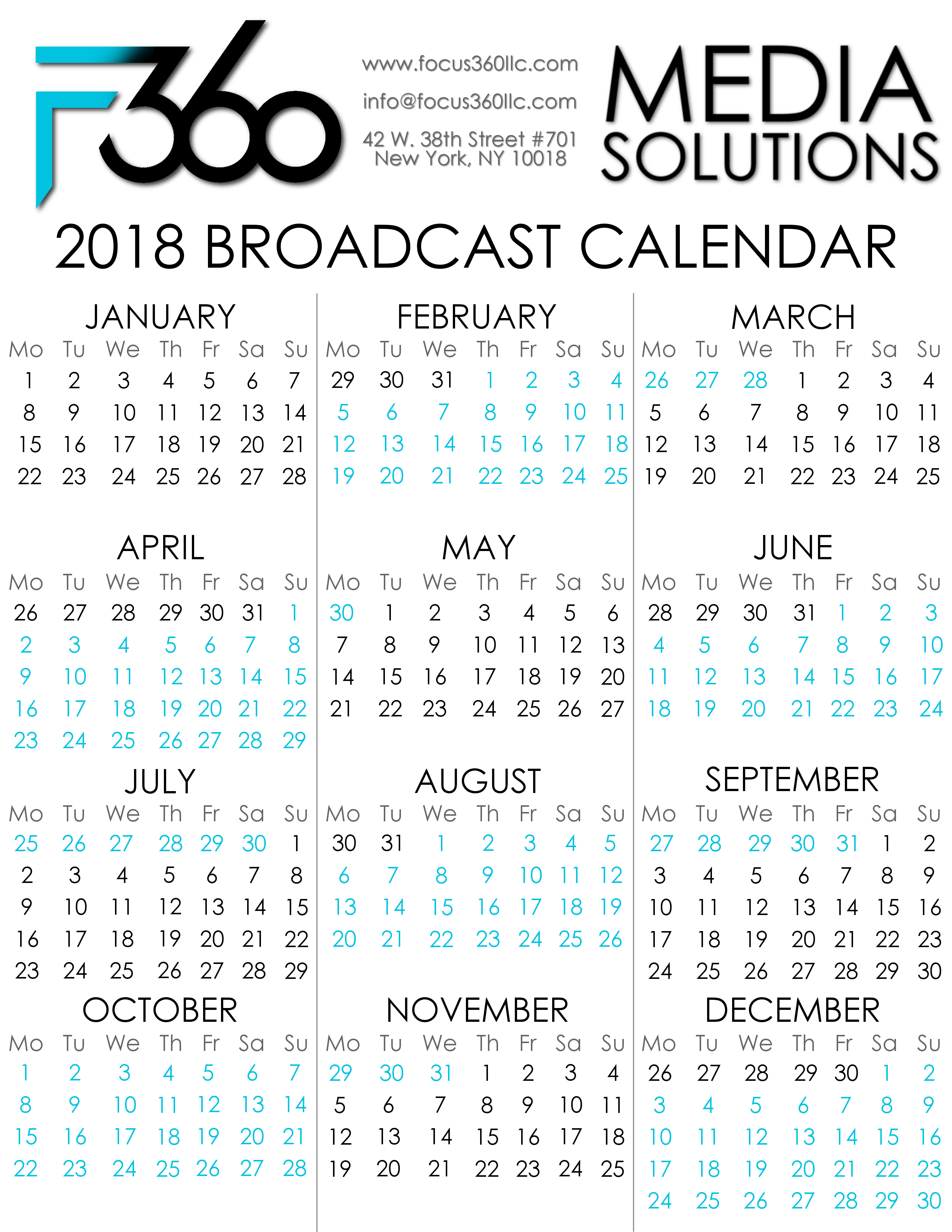 2018 focus 360 broadcast calendar focus360